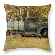 Old Truck With Potato Barrels Throw Pillow