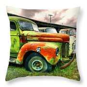 Old Trucks In A Row Throw Pillow