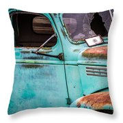 Old Turquoise Truck Throw Pillow