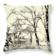 Old Victorian In Winter Throw Pillow