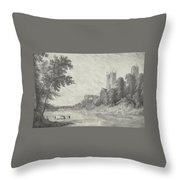 Old View Of Durham Cathedral Throw Pillow