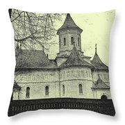 Old Village Church Throw Pillow