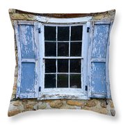 Old Village Window With Blue Shutters Throw Pillow