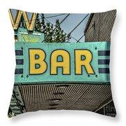 Old Vintage Bar Neon Sign Livingston Montana Throw Pillow