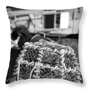 Old Vintage Hand Made Rope Lobster Pot Used In Fishing Industry Throw Pillow