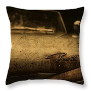 Old Vintage Plymouth Car Hood Throw Pillow