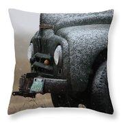 Old Vintage Truck In Winter Storm Saskatchewan Throw Pillow