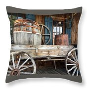 Old Wagon And Barrell Throw Pillow