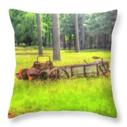 Old Wagon In Field Throw Pillow