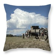 Old Wagon Out West Throw Pillow