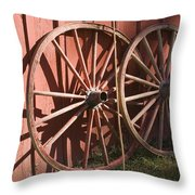 Old Wagon Wheels Throw Pillow
