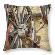 Old Wagon Wheels From Montana Throw Pillow