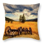 Old Wagons In Meadow Throw Pillow