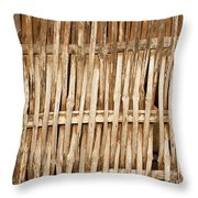 Old Wall Made From Bamboo Slats Throw Pillow