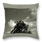 Old Washington Photo - Iwo Jima War Memorial Throw Pillow