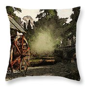 Old Watermill In The Forest Throw Pillow