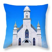 Old Weathered Church On Hill Top Throw Pillow