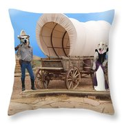 Old West Dogs Throw Pillow