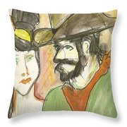 Old West Couple Throw Pillow