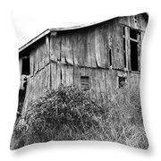 Old West Virginia Barn Black And White Throw Pillow