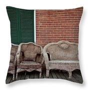 Old West Wicker Throw Pillow by Patricia Strand