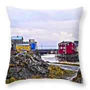 Old Whaling Village Nyksund Throw Pillow