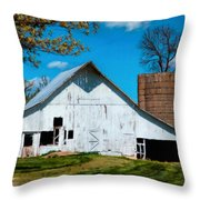 Old White Barn With Treed Silo Throw Pillow