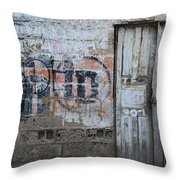 Old White Door In A Wall Throw Pillow