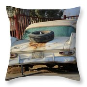Old White Plymouth In Natural Sunset Throw Pillow