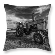 Old White Tractor In The Field Throw Pillow