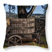 Old Wine Barrel And Wagon - Napa Valley Throw Pillow