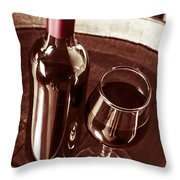 Old Wine Bottle And Glass In Rustic Wine Cellar Throw Pillow