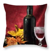 Old Wine Bottle Throw Pillow by Carlos Caetano