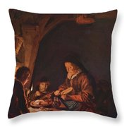 Old Woman Cutting Bread Throw Pillow