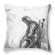Old Woman In Chair Throw Pillow