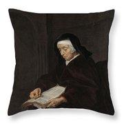 Old Woman Meditating, Gabriel Metsu, C. 1661 - C. 1663 Throw Pillow