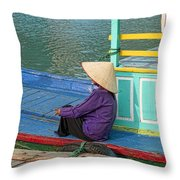 Old Woman On A Colorful River Boat Throw Pillow