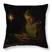 Old Woman Reading, Adriaan Meulemans, 1800 - 1833 Throw Pillow