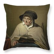 Old Woman Reading, Cornelis Kruseman, 1820 - 1833 Throw Pillow