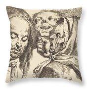 Old Woman Scolding A Man Throw Pillow