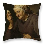 Old Woman Selling Eggs, 1632 Throw Pillow