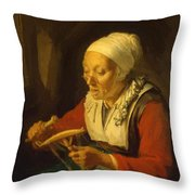 Old Woman Unreeling Threads 1665 Throw Pillow