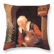Old Woman Watering Flowers 1665 Throw Pillow