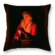 Old Woman With A Candle Throw Pillow