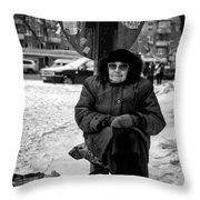 Old Women Selling Woollen Socks On The Street Monochrome Throw Pillow