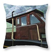 Old Wood Boat Throw Pillow