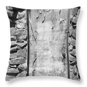 Old Wood Door  And Stone - Vertical Bw Throw Pillow