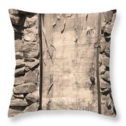 Old Wood Door  And Stone - Vertical Sepia Bw Throw Pillow