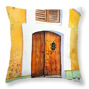 Old Wood Door Arch And Shutters Throw Pillow