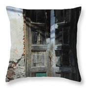 Old Wood Door In A Wall Throw Pillow